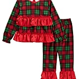 Candlesticks Holiday Plaid Ruffle Pajama Set