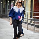 Top cropped denim with a ladylike blouse
