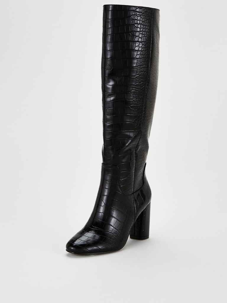 V by Very Taylor Straight Leg Knee Boots - Black