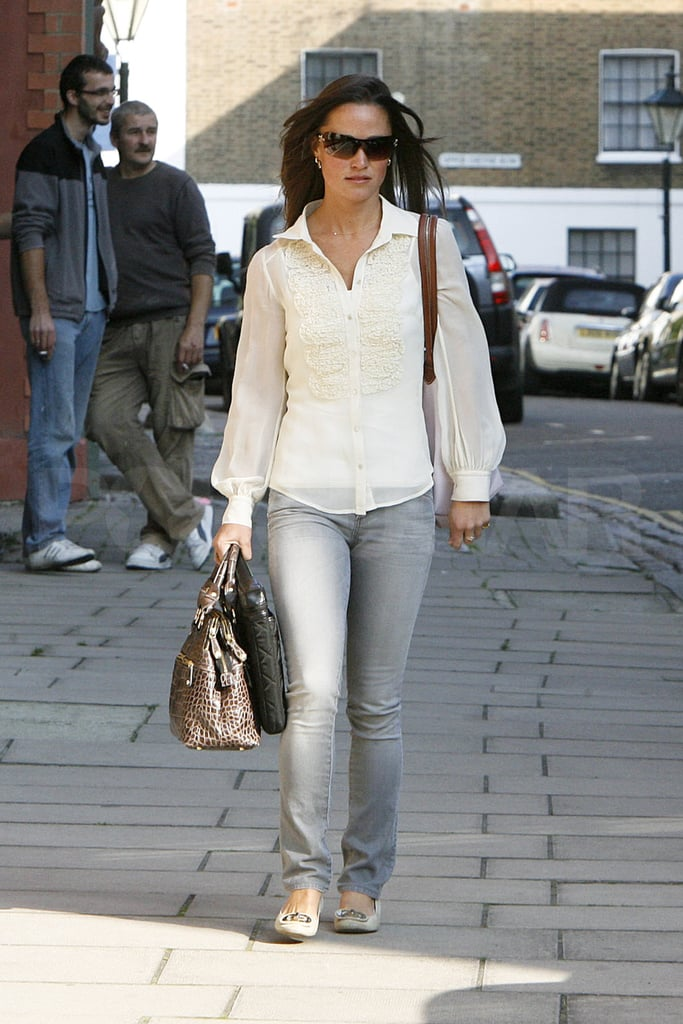 Pippa Middleton opted for jeans this morning as she commuted to work in London. The younger sister of the Duchess of Cambridge, Kate Middleton, often wears chic skirts or simple dresses to her office, but today looked more casual than usual. Pippa's hanging out in England following a getaway to visit with Kate and Prince William in Wales —even Pippa's boyfriend, Alex Loudon, went along for the trip! Alex and Pippa are both together in London at the moment and enjoyed a late night out at the Public nightclub last week. There are even rumors in the UK press that the couple are moving in together.