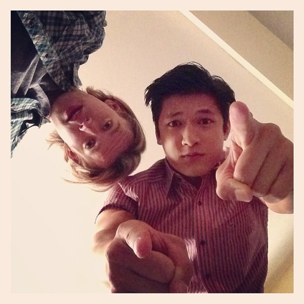 Chord Overstreet and Harry Shum Jr. goofed around on the set of Glee. Source: Instagram user harryshum