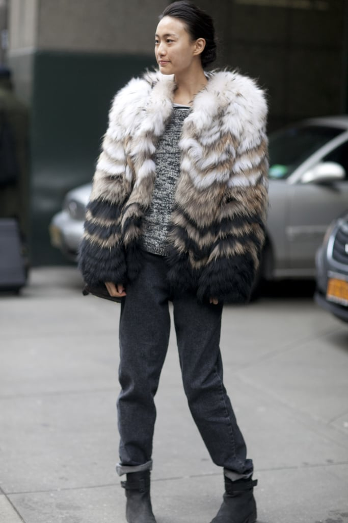 Proof that all you really need to warm up a t-shirt and jeans is a great fur coat.