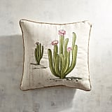 Embroidered Blooming Cactus Pillow