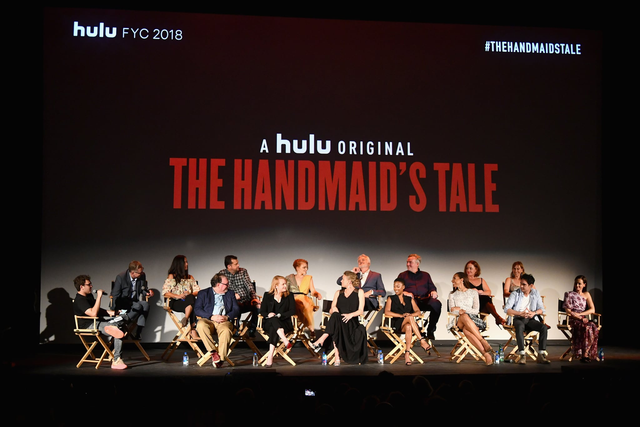 LOS ANGELES, CA - JULY 09:  (L-R Front) Jon Lovett, Bruce Miller, Elisabeth Moss, Yvonne Strahovski, Samira Wiley, Max Minghella and Alexis Bledel, (L-R Back) Warren Littlefield, Elisabeth Williams, Colin Watkinson, Madeline Brewer, Bradley Whitford, Mike Barker Sharon Bialy and Sherry Thomas attend