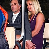 Britney Spears and Jason Trawick made their way to the Fox Upfronts party in NYC in a golf cart.