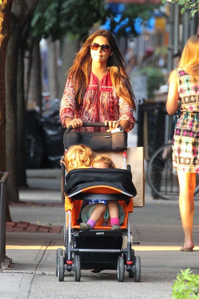 Camila Alves pushed Levi and Vida in a stroller.