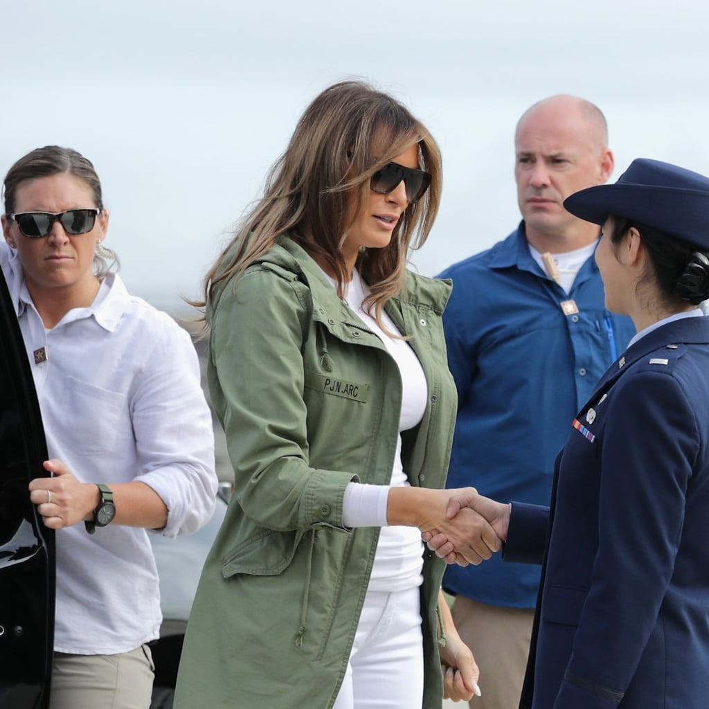 Melania Trump Green Jacket While Visiting Texas June 2018