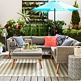 Bari Gray Sectional and Ottoman Patio Collection With Cushions