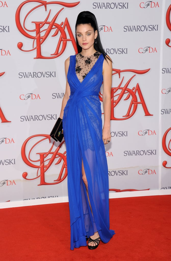 Jessica Stam showed off her svelte figure in a sheer, electric-blue Jason Wu gown. And as if that skin-baring detail wasn't enough, the lacy bodice injected an even sexier feel.