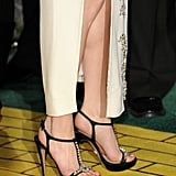 Michelle's jeweled t-strap sandals and side slit added major drama.