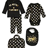 My Mother Is A Superhero Tee, Pants, Bodysuit & Bib Set