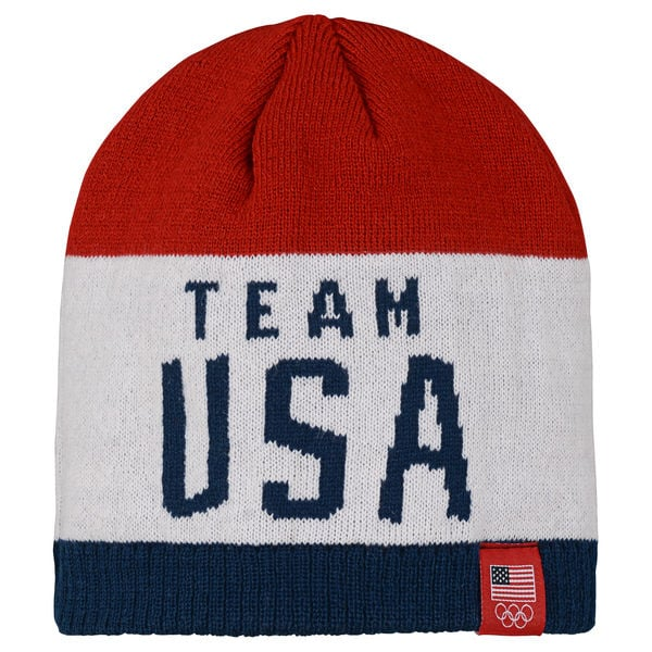 Men's Red/White Team USA Team Color Knit Beanie