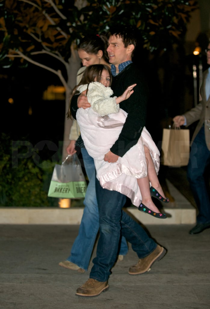 Tom Cruise and Katie Holmes took their children Suri and Connor out to dinner in LA last night. They skipped out on all the happenings at the Grammys, instead choosing to focus on family over a meal at Bouchon Bakery. Tom's home in LA again after finishing up work on One Shot. He's now gearing up to shoot We Mortals Are with director Doug Liman. Another of Tom's projects, Oblivion, is moving forward with production as well, having added Morgan Freeman to the cast. This will be a big month for the Cruise-Holmes clan. Katie and Tom, one of Hollywood's cutest couples, are looking forward to their latest Valentine's Day together tomorrow. He's also gearing up for a return to the Oscars, where he'll be a presenter, on Feb. 26.