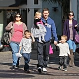 Mark Wahlberg out in LA with wife Rhea Durham and their children Brendan, Michael, Ella, and Grace.