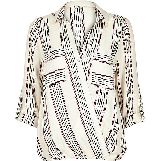 River Island Red stripe wrap blouse ($40)