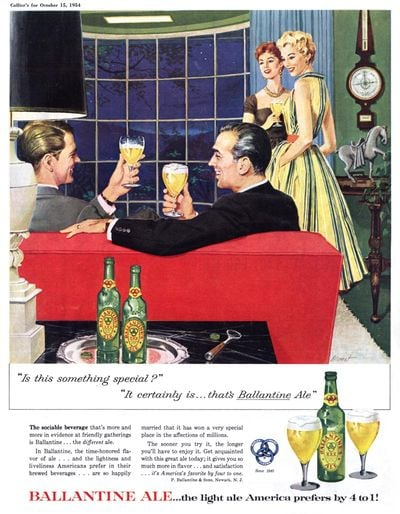 Both the men and the women at this dinner party are enjoying beer.