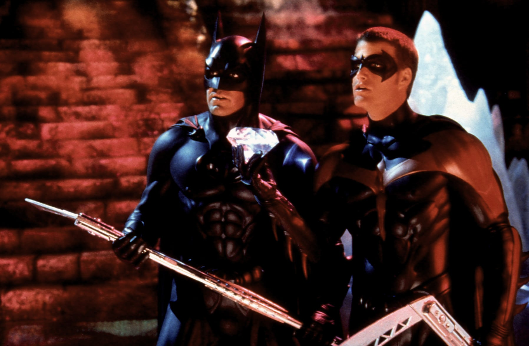BATMAN AND ROBIN, George Clooney, Chris O'Donnell, 1997.