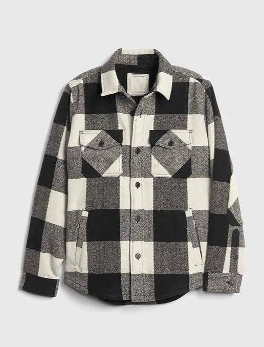 Men's Plaid Cozy Shirt Jacket
