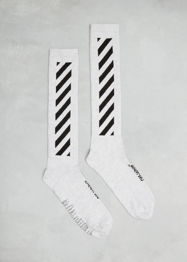 Off-White White / Black Diagonal Socks