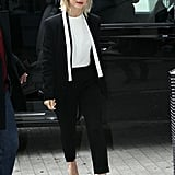 Julianne Hough looked sleek in her black and white Escada suit and silver metallic pumps while promoting Safe Haven in London.