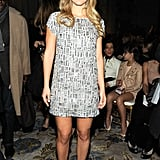 Bar Refaeli shimmered in an embellished mini at the Marchesa show.