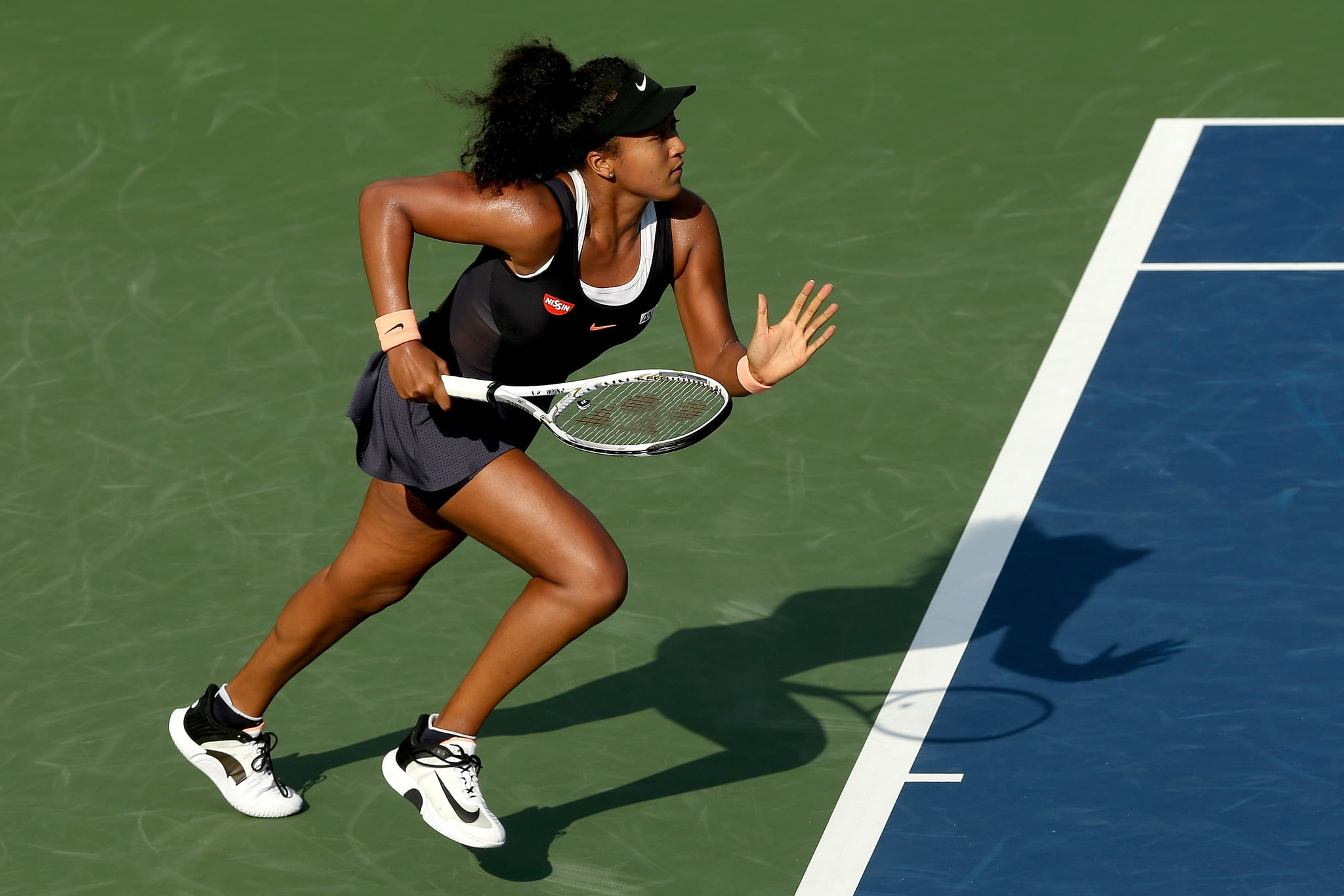 NEW YORK, NEW YORK - AUGUST 24: Naomi Osaka of Japan plays Karolina Muchova of Czech Republic during the Western & Southern Open at the USTA Billie Jean King National Tennis Center on August 24, 2020 in the Queens borough of New York City. (Photo by Matthew Stockman/Getty Images)