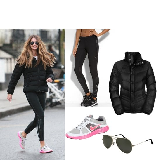 Elle Fitness Leggings: Picture Of Elle Macpherson In Nike Shoes And Black Puffer