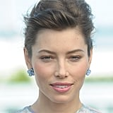Jessica Biel wore blue flower earrings to the Total Recall photocall in Berlin.