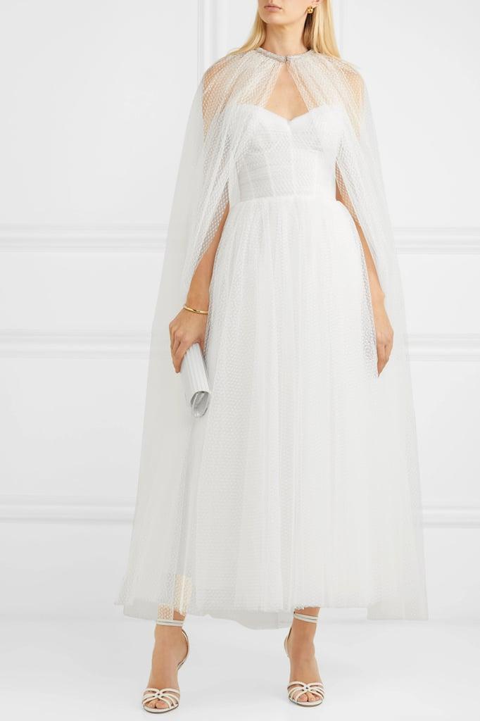 Monique Lhuillier White Brie Cape Gown