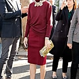 Hack: Half tuck a turtleneck into a formfitting pencil skirt to add shape. Make your look appear finished with an ornate statement choker that rests elegantly around your neckline.