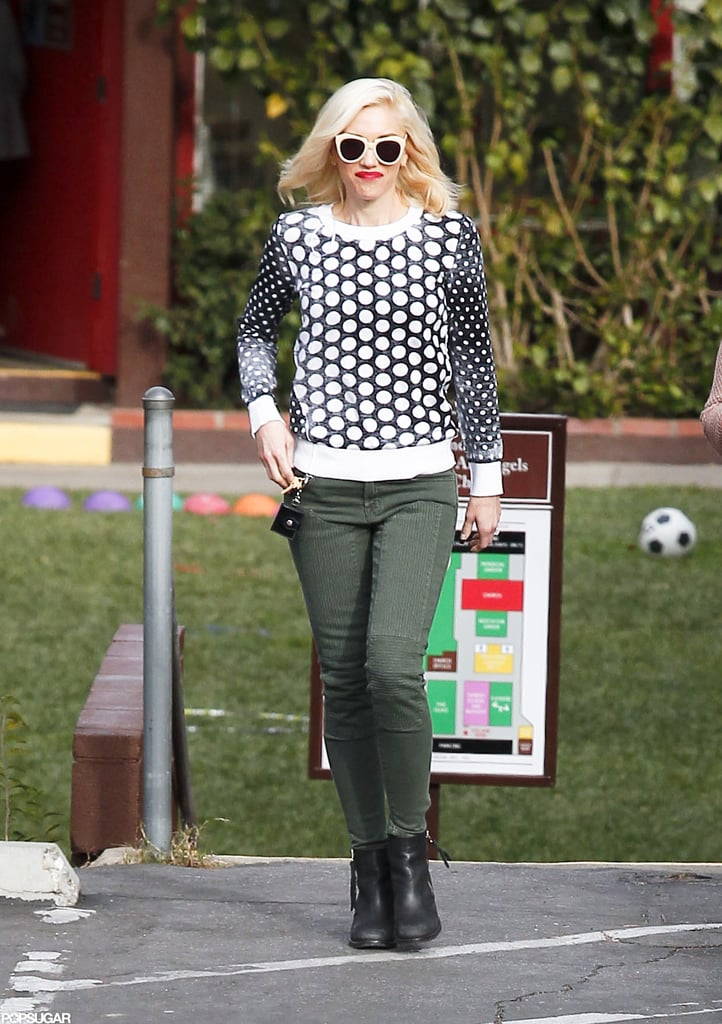 Gwen Stefani wore her signature bright red lipstick for a day of errands in LA.