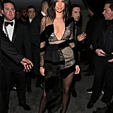 Kendall slipped into an LBD that was anything but basic while attending a Golden Globes afterparty. With varying textures, lacy accents, and a plunging neckline, her sleek minidress had our eyes cartoonishly popping out of our heads.