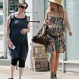 Sienna Miller and a fellow pregnant friend walked together in London.