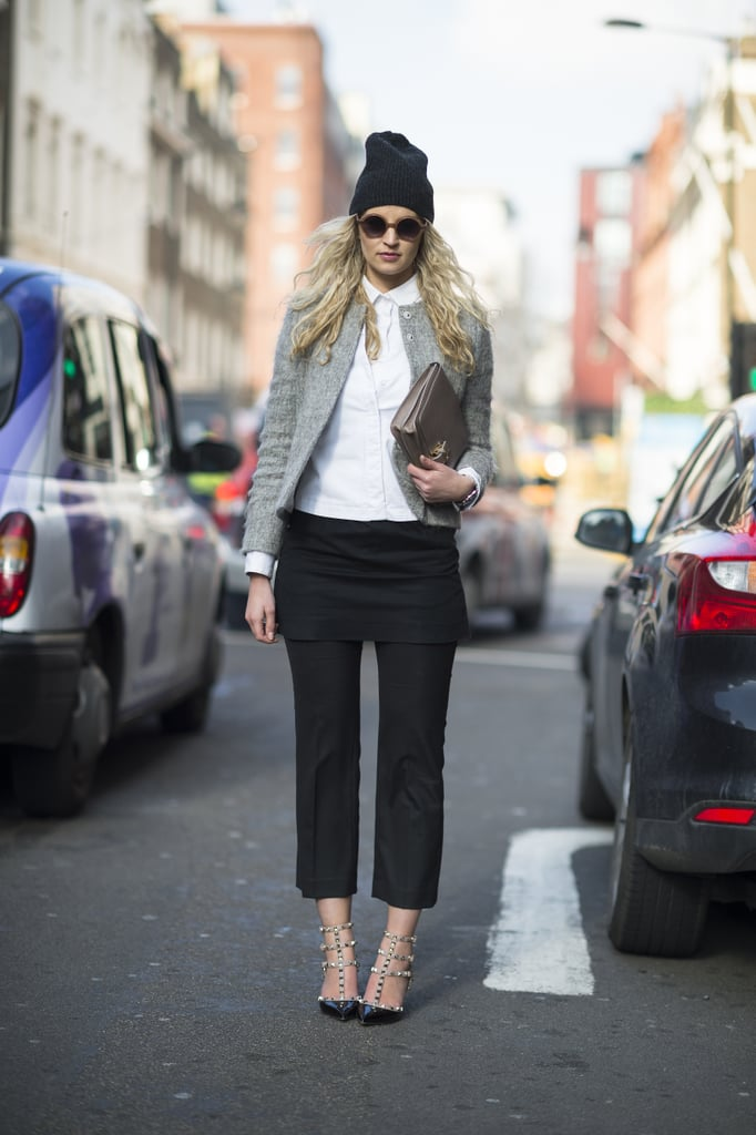 A beanie gave a street-styled twist to unexpected layers and posh Valentino heels. Source: Le 21ème | Adam Katz Sinding