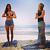 A little beach yoga for Alessandra sounds amazing.