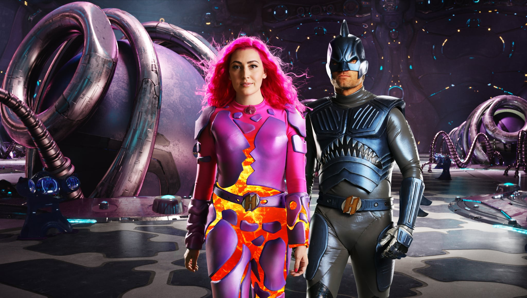 WECAN BE HEROES:  (L-R) TAYLOR DOOLEY as LAVAGIRL, JJ DASHNAW AS SHARKBOY. Cr. NETFLIX © 2020
