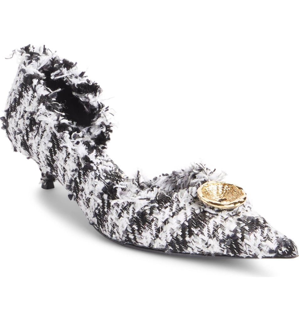 Balenciaga Tweed Pointy Toe Half d'Orsay Pump