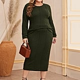 Shein Cable Knit Top & Pencil Skirt Set