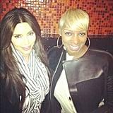 Kim Kardashian ran into pal Nene Leakes. Source: Instagram user kimkardashian