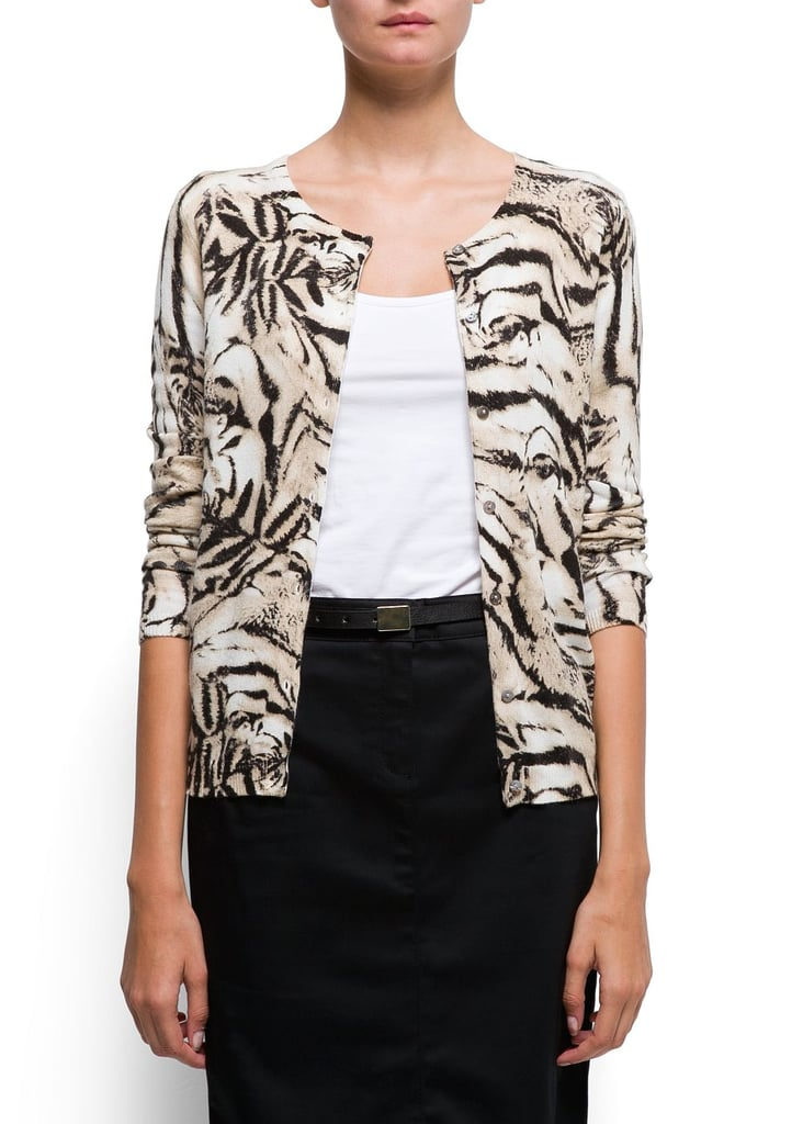 Pop this lightweight sweater on over a t-shirt and high-waisted skirt for a day at the office. Mango Animal-Print Angora and Cotton Cardigan ($60)