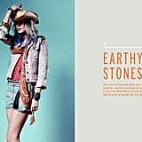 Earth-toned stones offer an unexpected contrast to bubbly prints and color.  Shop the look