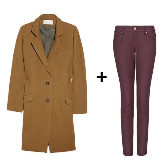 If you tend to err on the side of great basics, the only thing we'll suggest is a burgundy-hued pair of jeans. The cool denim silhouette will last you all season long, and the camel boat is a timeless investment.  Vanessa Bruno Wool-Blend Tweed Coat ($820) + Mango Coated Cropped Jeans ($70)
