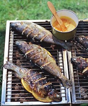Sunday BBQ: Grilled Striped Bass with Orange-Saffron Butter