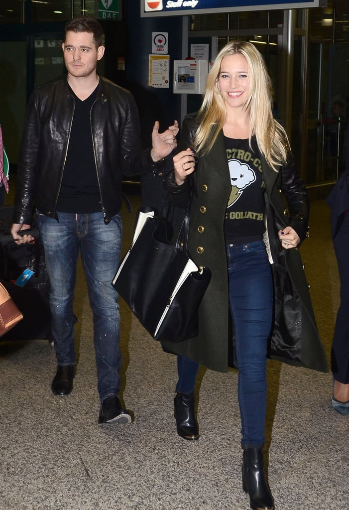Michael Bublé and Luisana Lopilato walked through the airport in Rome together yesterday. Luisana smiled big while Michael stopped for fans and waved to cameras. He's in Italy after appearing on The Voice as an advisor to Blake Shelton last month. Michael's Hollywood run might continue with rumors that he has plans to record a duet with Reese Witherspoon, though that exciting news has yet to be confirmed. In the meantime, he's prepping for a big concert series. Michael just announced a string of Summer 2013 shows at London's O2 Arena with tickets going on presale today.