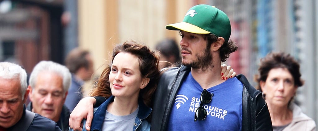 Leighton and Adam Make Room For PDA on a Packed Street
