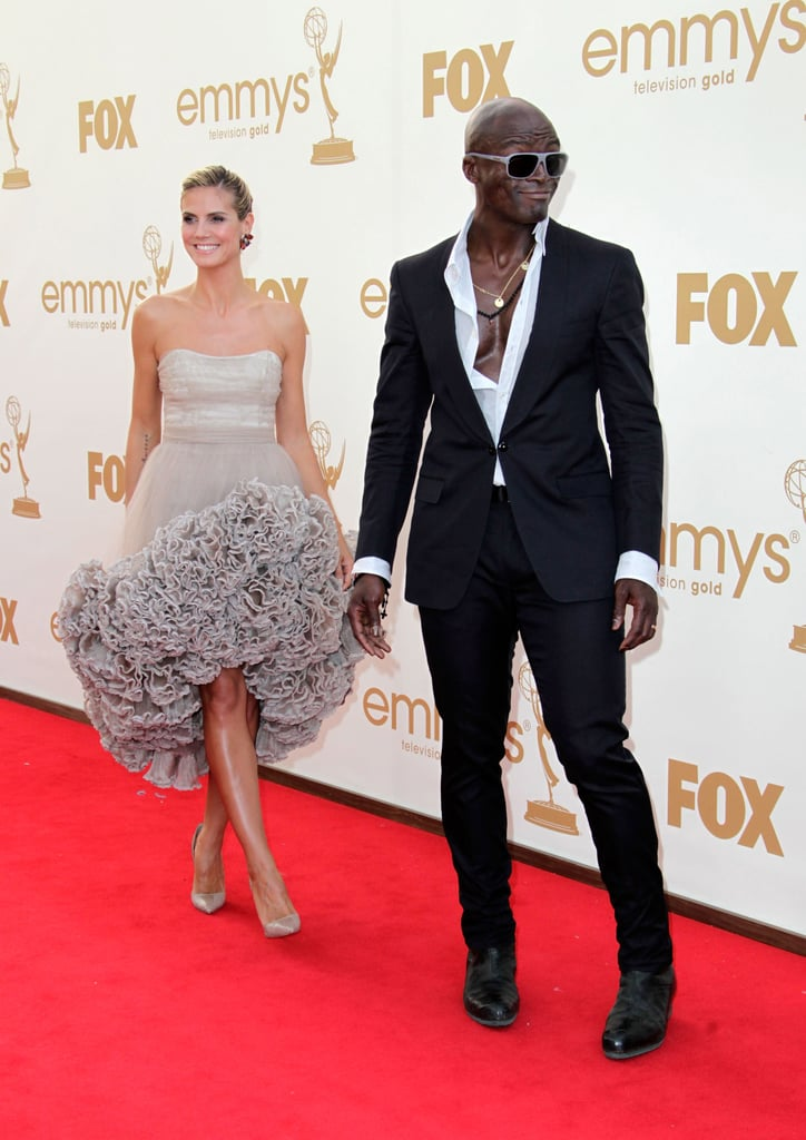 Heidi Klum Goes Short in Custom Christian Siriano With a Skin-Baring Seal by Her Side