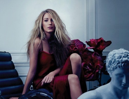 Blake Lively wore red in a sultry spread for Bullett in 2012. Source: Bullett