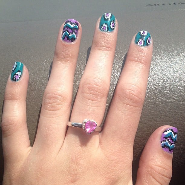 We love the bright colors and fun patterns in this playful manicure. Source: Instagram user cereanababy