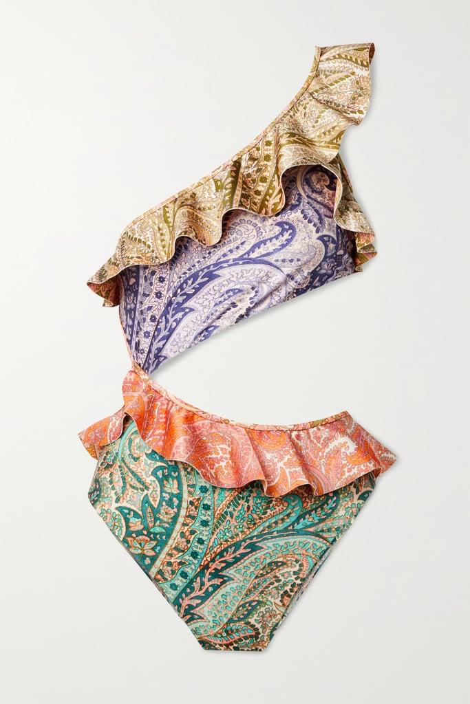 Zimmermann Lilac Brighton One-Shoulder Cutout Ruffled Paisley-Print Swimsuit