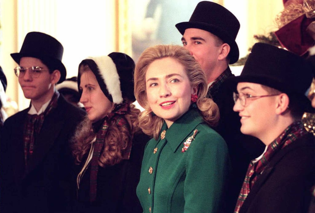 First Lady Hillary Clinton Hanging With Carollers